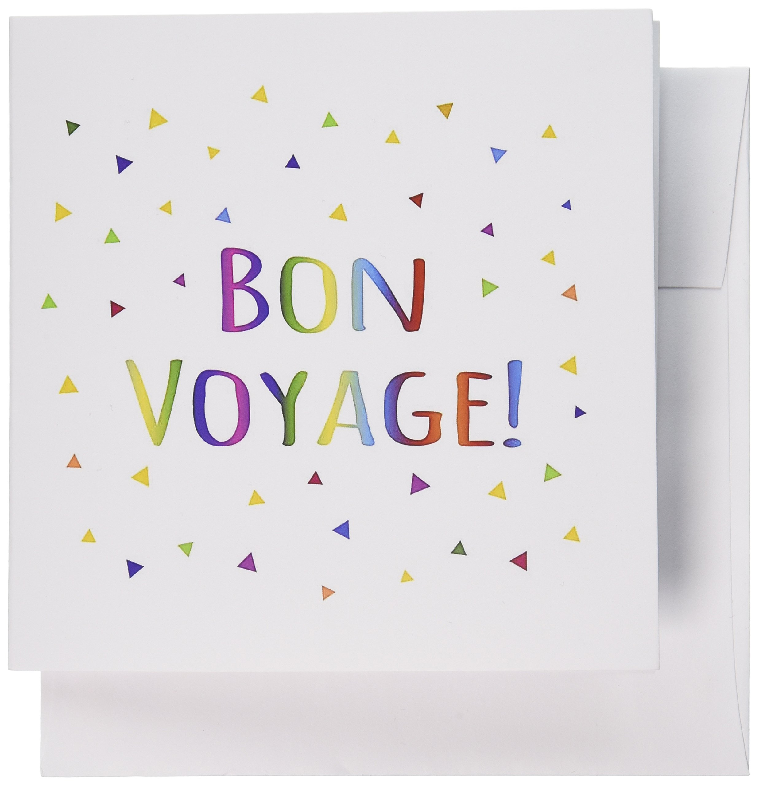 3dRose Greeting Cards, 6 x 6 Inches, Pack of 12, Bon Voyage Colorful Rainbow Text (gc_202068_2)