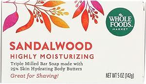 Whole Foods Market, Triple Milled Soap, Sandalwood, Highly Moisturizing, 5 oz