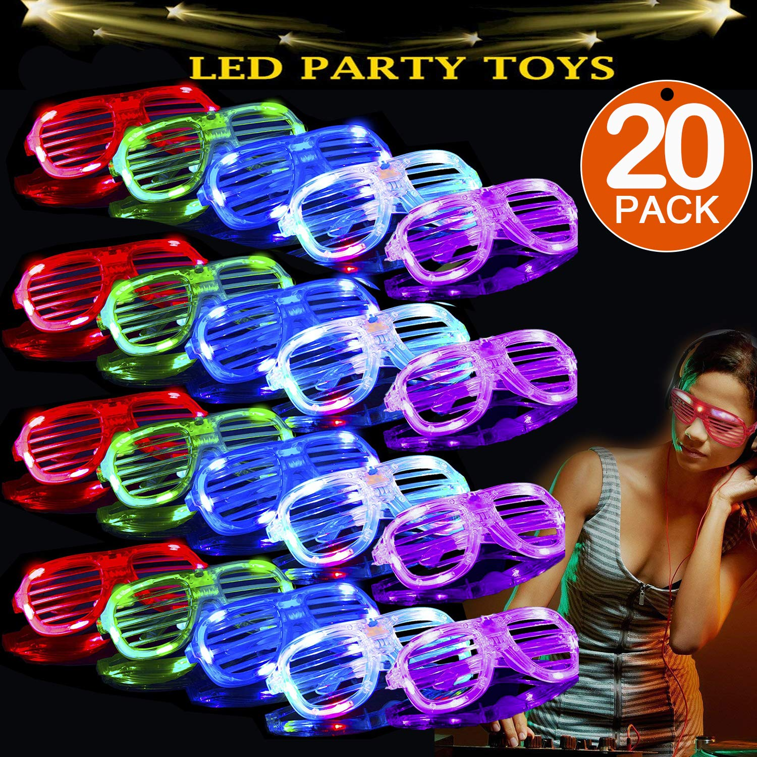 TURNMEON 20 Pack LED Glasses,5 Color Light Up Plastic Shutter Shades Glasses Shades Sunglasses for Adults Kids Glow in the Dark Party Favors Neon Party Supplies Independence Day Glow Toy by TURNMEON (Image #1)