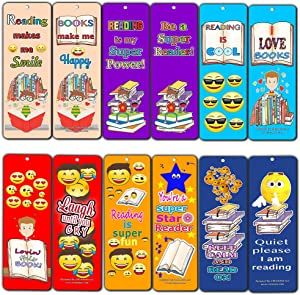 Creanoso Smiley Face Bookmarks Cards for Kids (60-Pack)- Emoji Emoticon Bookmarker - Books Reading Rewards Incentives For Kids Boys Girls Classroom Supplies - Best Party Favors - Stocking Stuffer Gift