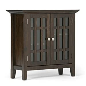 Simpli Home 3AXCBED-03 Bedford Solid Wood 32 inch wide Rustic Low Storage Media Cabinet in Tobacco Brown