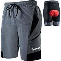 Sportneer Padded Bike Shorts Men's 3D Padded Mountain Bike Cycling Shorts with Loose Fit