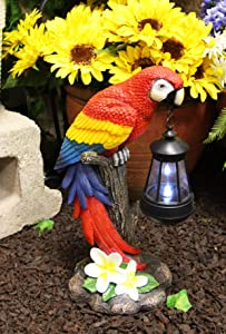 """Ebros Gift 14"""" Tall Beautiful Tropical Rainforest Paradise Bird Red Scarlet Macaw Parrot Perching On Tree Stump Statue with Solar LED Lantern Light Decorative Path Lighter Home Garden Patio Parrots"""