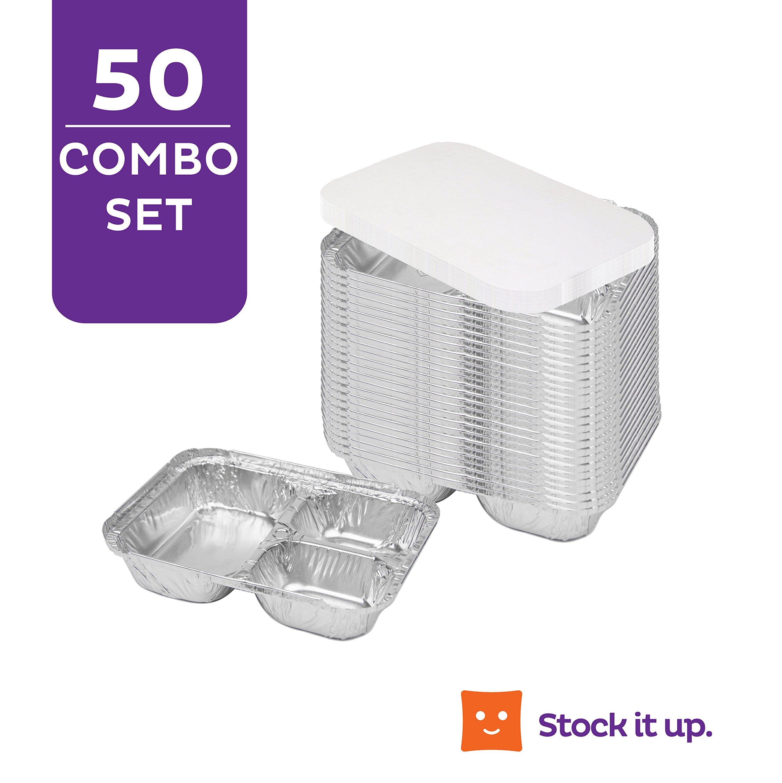 Disposable Aluminum Dinner Tray with Paper Lids (Pack of 50) – 3 Compartment Foil Pan – Perfect for On The Go Lunches, Leftovers, TV Plate Or Takeout – Convenient Airline Food Tray