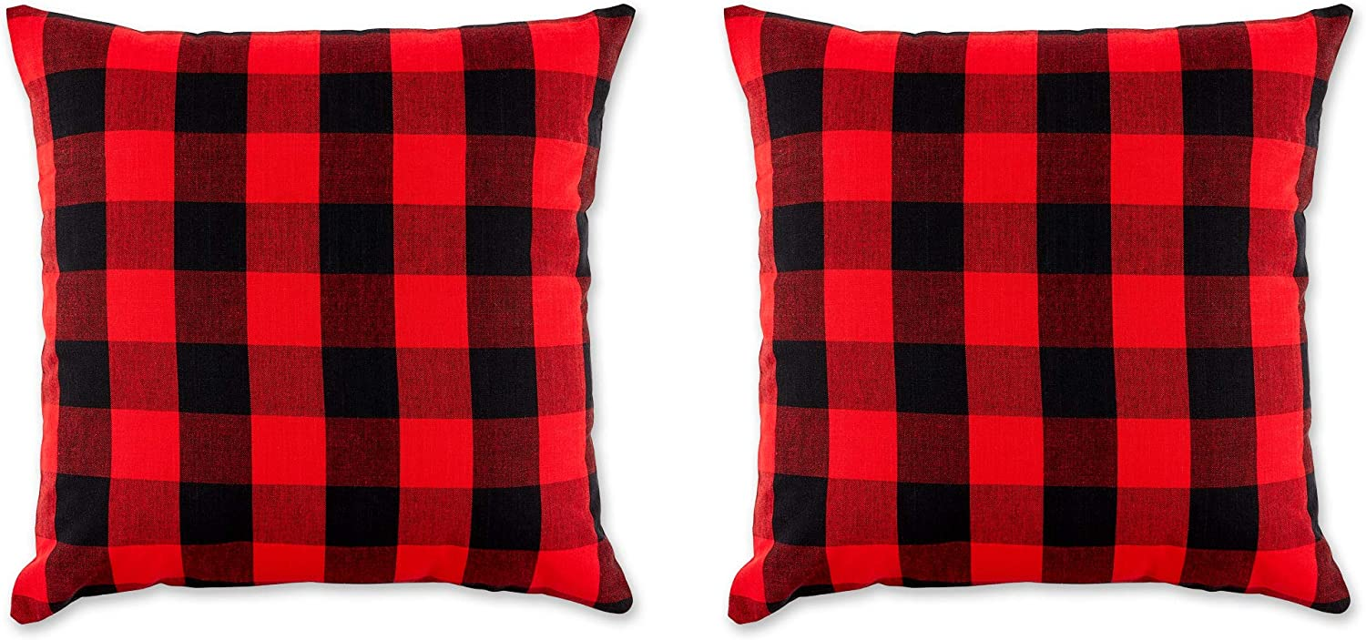 Amazon Com Dii Gingham Check Pillow Cover 20x20 Buffalo Red Black Home Kitchen