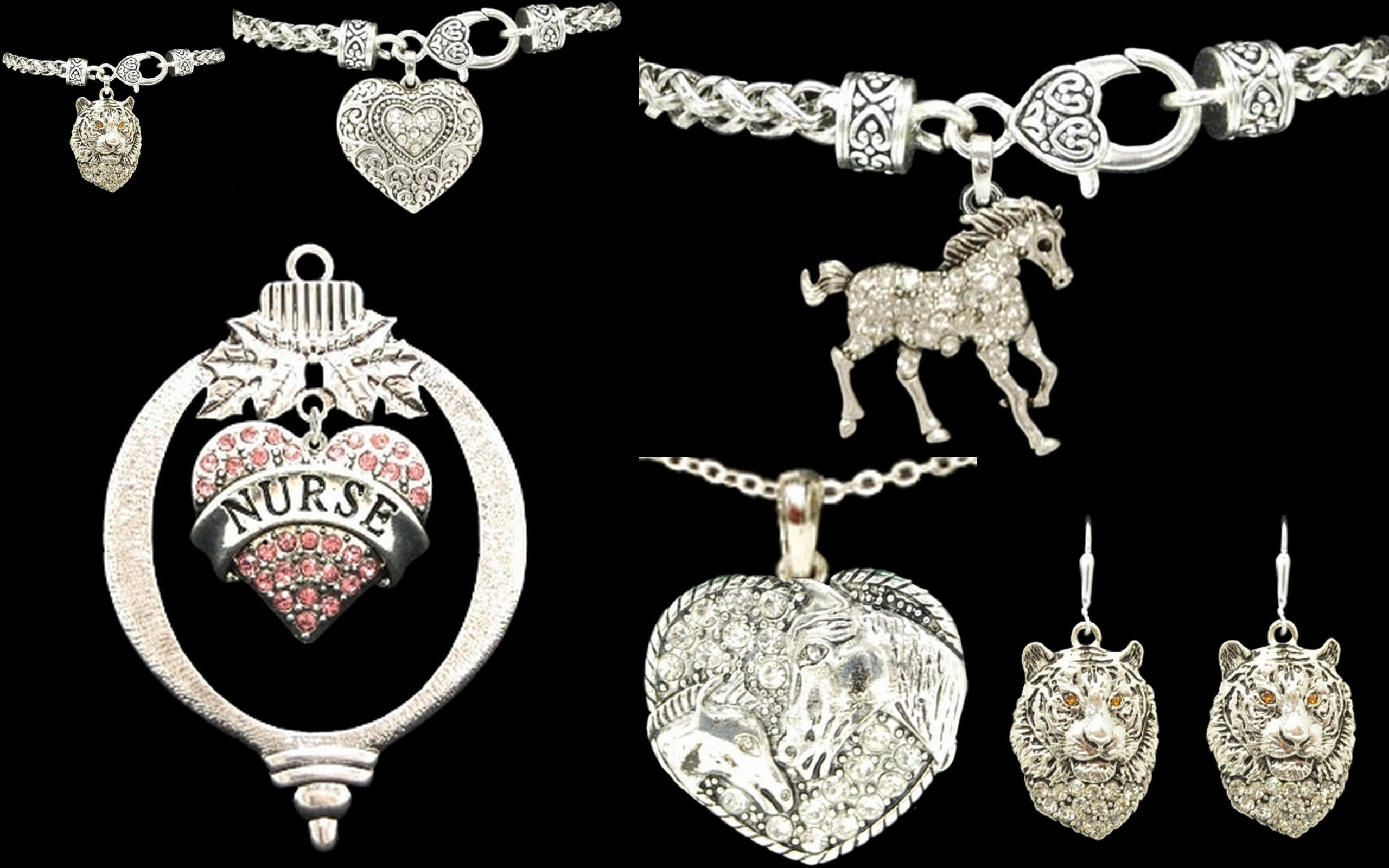 VOLLEYBALL HEART Crystal Rhinestones Embellished Heart 18'' Necklace.Show your pride in your Loved One's Sport
