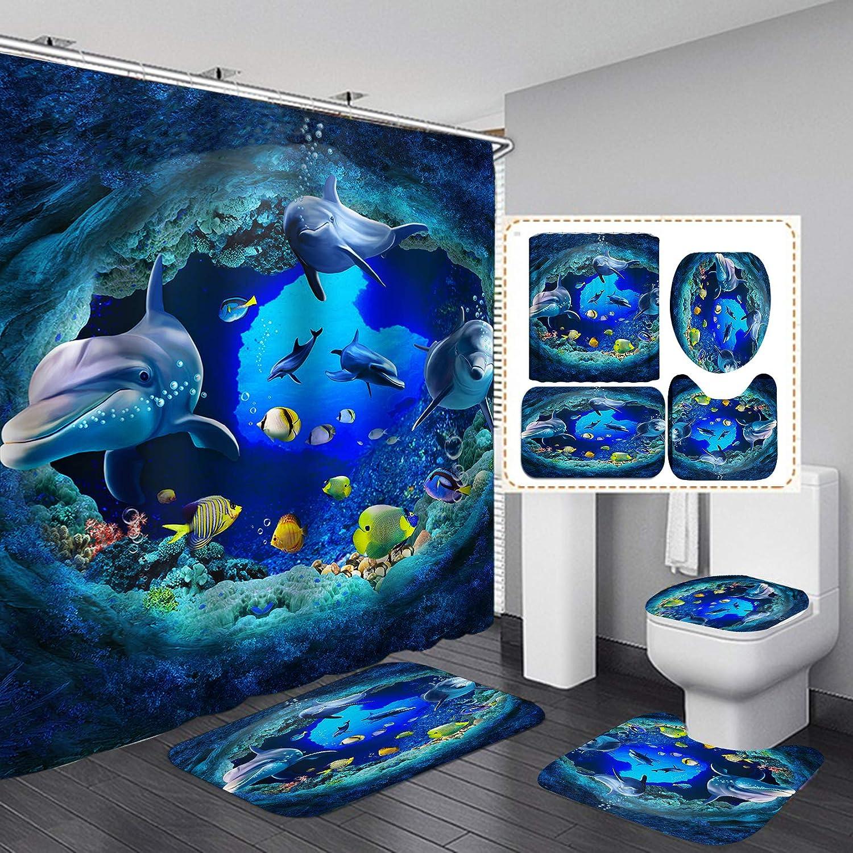 "Fashion_Man 4PCS Sea World Dolphin Shower Curtain Set Bathroom Shower Curtain Non-Slip Bath Mat Toilet Lid Cover Polyester Waterproof Bath Curtain and Rug Set, with 12 Hooks, 72""x72"", Dolphin (4pcs)"