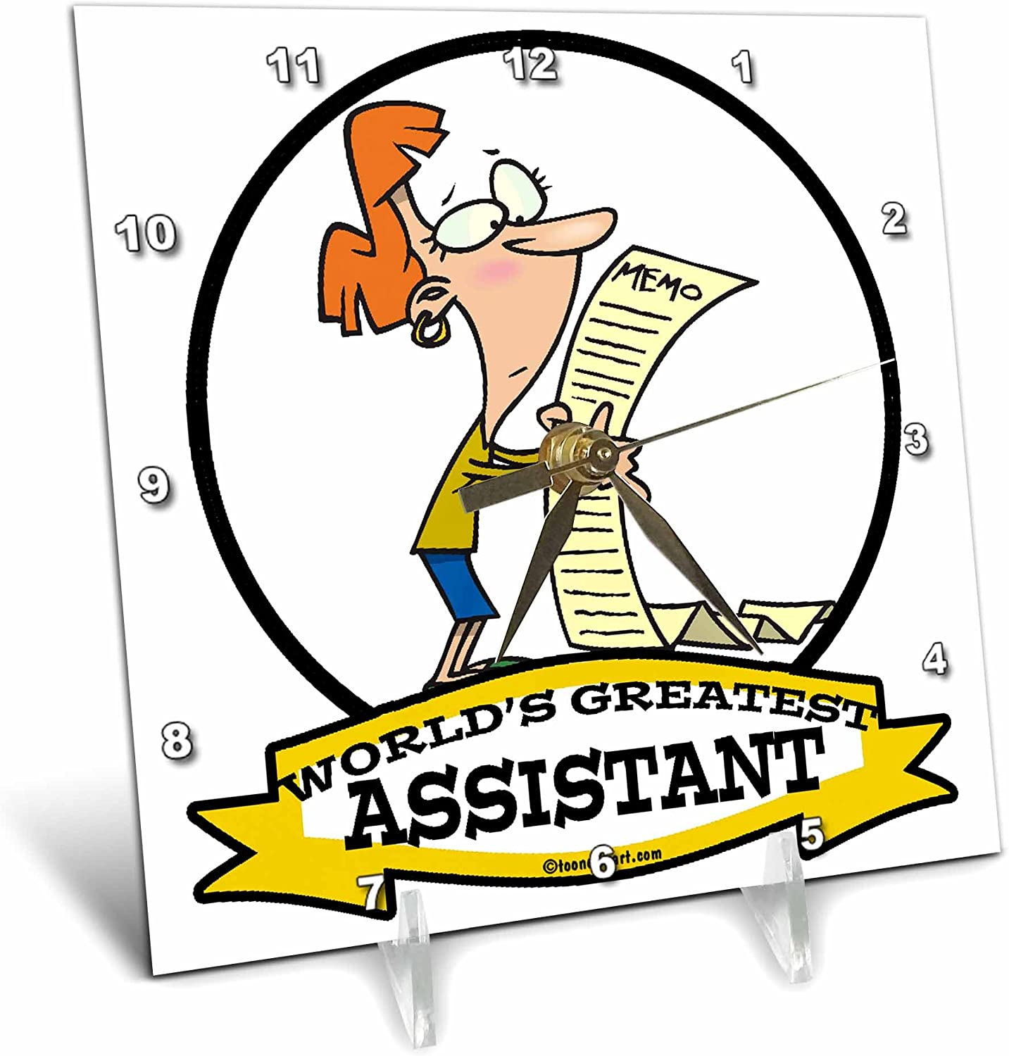3dRose dc/_102930/_1 Funny Worlds Greatest Assistant II Occupation Job Cartoon-Desk Clock 6 by 6-Inch