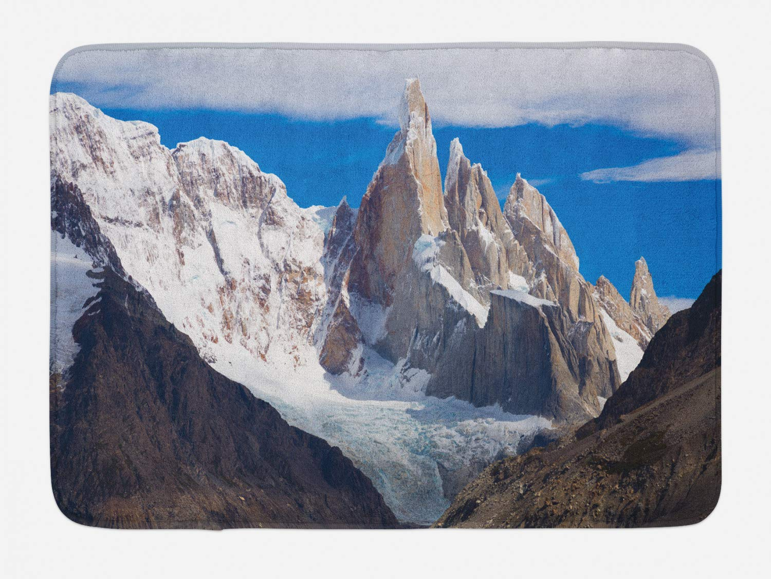 Lohebhuic Picturesque Views of Snow Capped Mountain Peaks and Glaciers of Cerro Chaltel Plush Bathroom Decor Mat with Non Slip Backing,46.8'' W by 70.98'' L