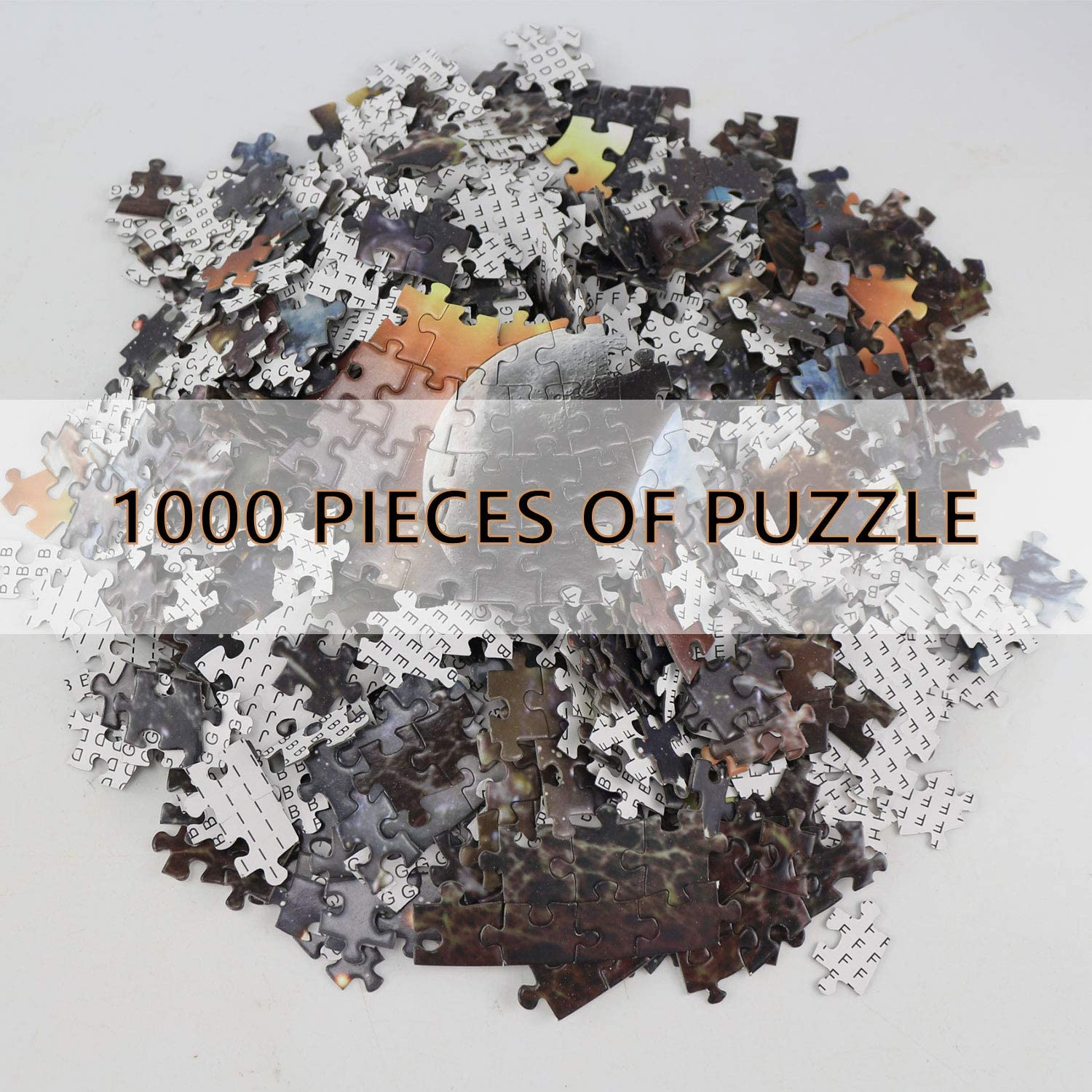 Planets in Space Solar System Jigsaw Puzzle Large Round Difficult and Challenge 1000 Piece Round Jigsaw Puzzle for Adult Teen
