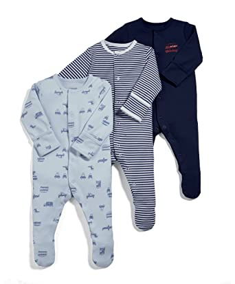 078ef0bdebf73 Mamas and Papas Baby Girls' Pack of 3 Transport Sleepsuits Sleepsuits,  Blue, 0
