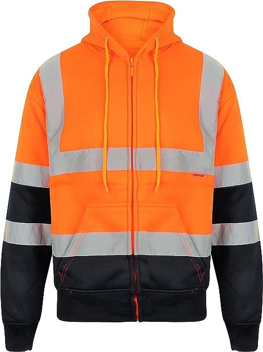 Hi Vis Crewneck Sweatshirt Hoodie Jumper Hooded Sweat Shirt High Visibility Hoody Warm Fleece Top