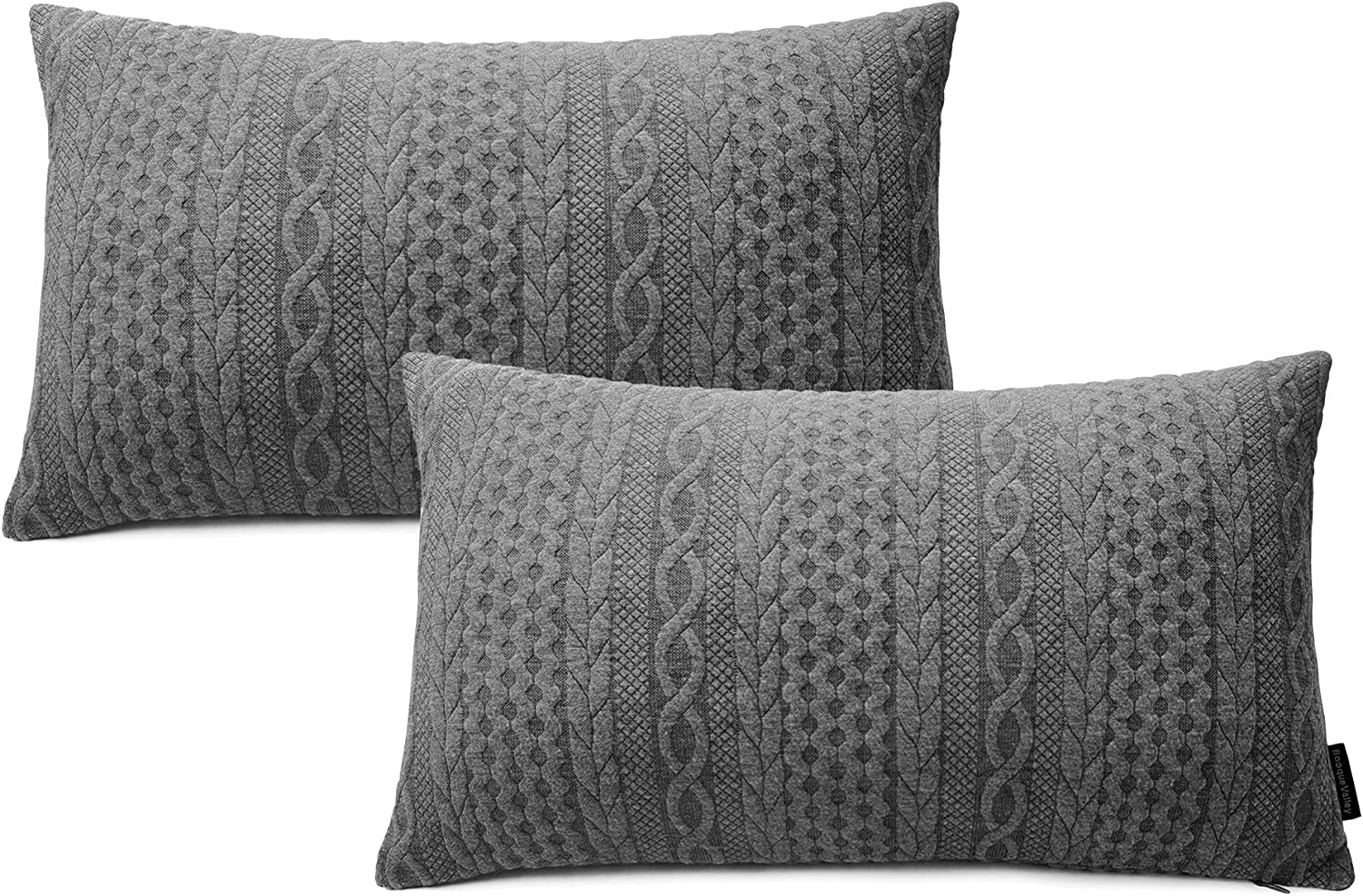 Booque Valley Lumbar Pillow Covers Pack Of 2 Super Soft Elegant 12 X 20 Inch Oblong Rectangular Throw Pillow Covers Modern Embossed Patterned Knit Gray Cushions For Sofa Bed Car Chair Grey Home Kitchen