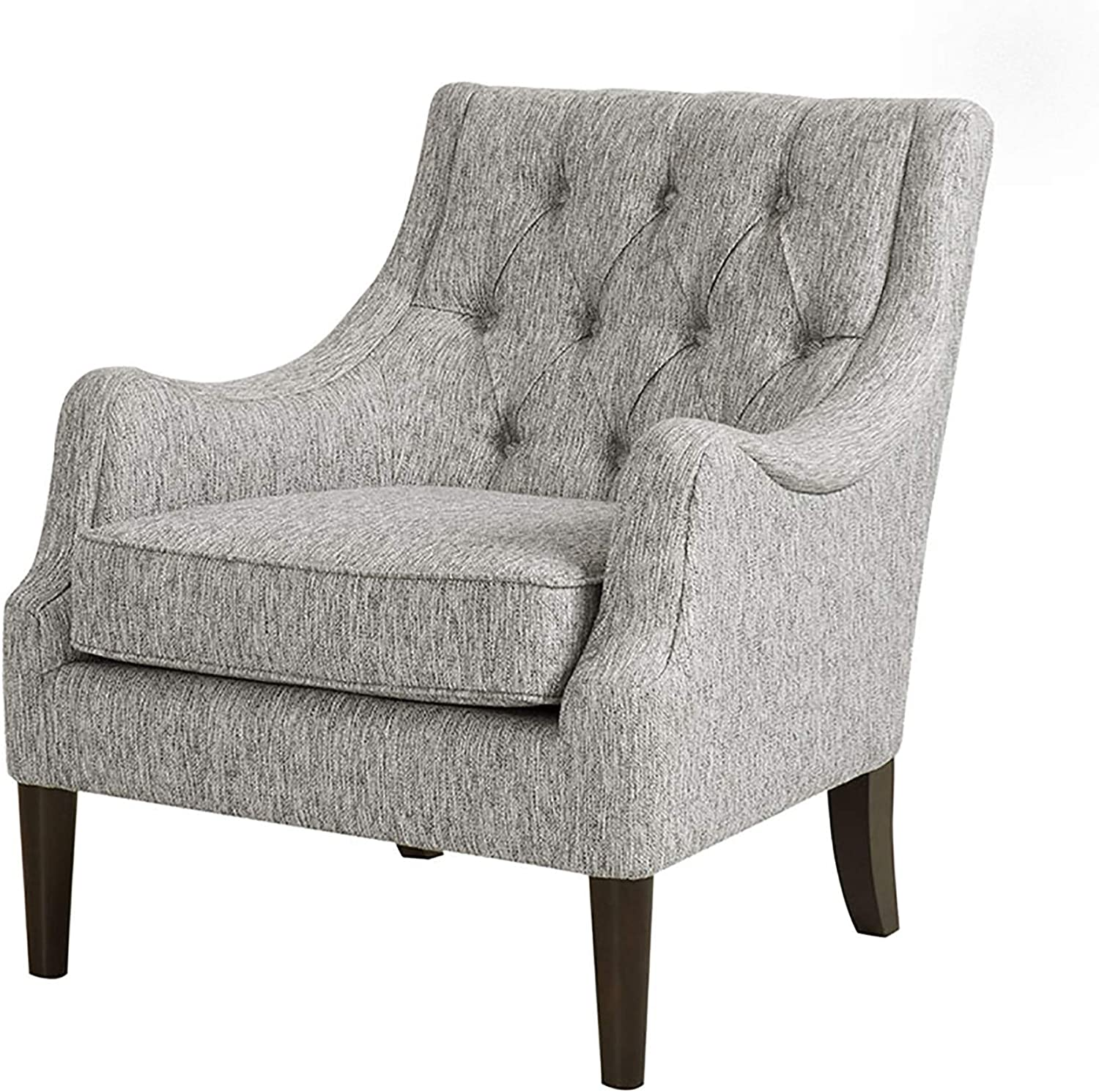 Madison Park Qwen Accent Chairs - Birch, Hardwood, Faux Linen Armchair, Modern Classic Style, Diamond Tufted Living Room Sofa Furniture, Bedside Lounger, Grey