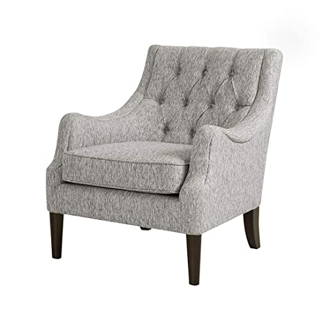 Astounding Madison Park Qwen Accent Chairs Birch Hardwood Faux Linen Armchair Modern Classic Style Diamond Tufted Living Room Sofa Furniture Bedside Ibusinesslaw Wood Chair Design Ideas Ibusinesslaworg