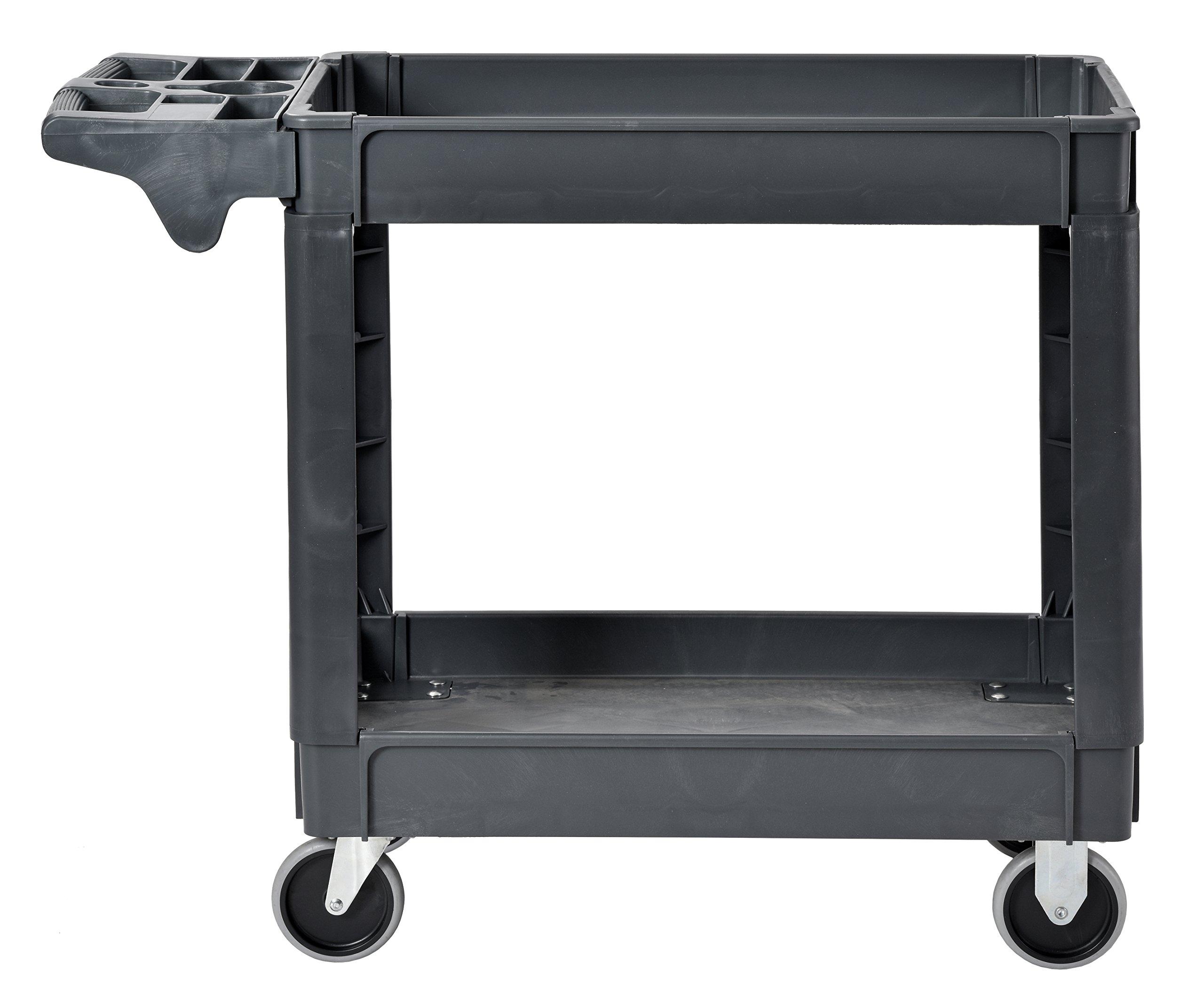 Sandusky Lee PUC174033-2 Heavy-Duty Plastic Utility Cart, 2 Shelves, 33'' Width x 40'' Height x 17'' Depth, Gray by Sandusky