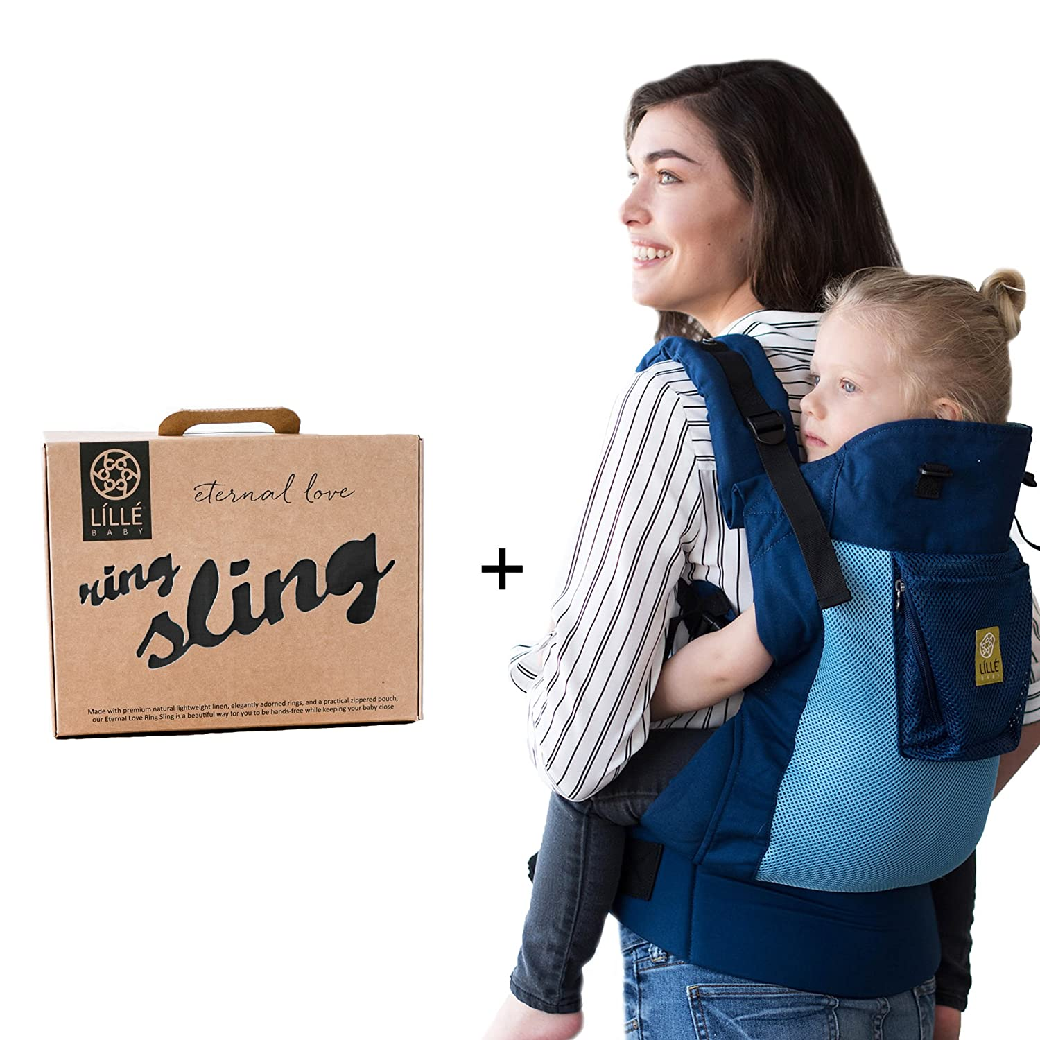 Lillebaby Carry Me Bundle 2 Items Blue Aqua 3 1 Carryon Airflow Toddler Carrier And Ring Sling Magic Black