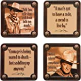 Vandor 15085 John Wayne 4 pc Wood Coaster Set, Brown