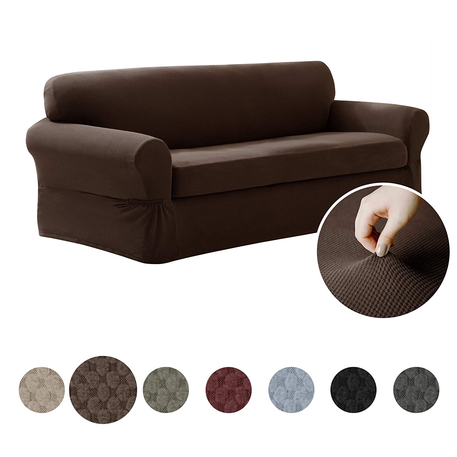 MAYTEX Pixel Ultra Soft Stretch 2 Piece Sofa Furniture Cover Slipcover,  Chocolate Brown