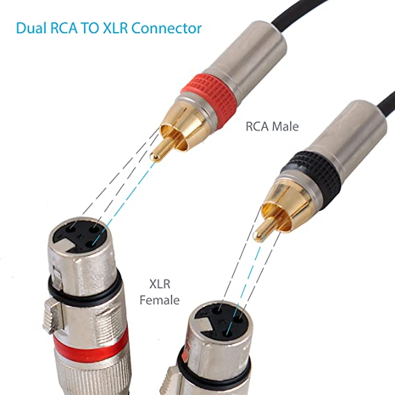 Astounding Amazon Com Rca To Xlr Audio Cord Dual Rca Male To Xlr Female Wiring Digital Resources Honesemecshebarightsorg