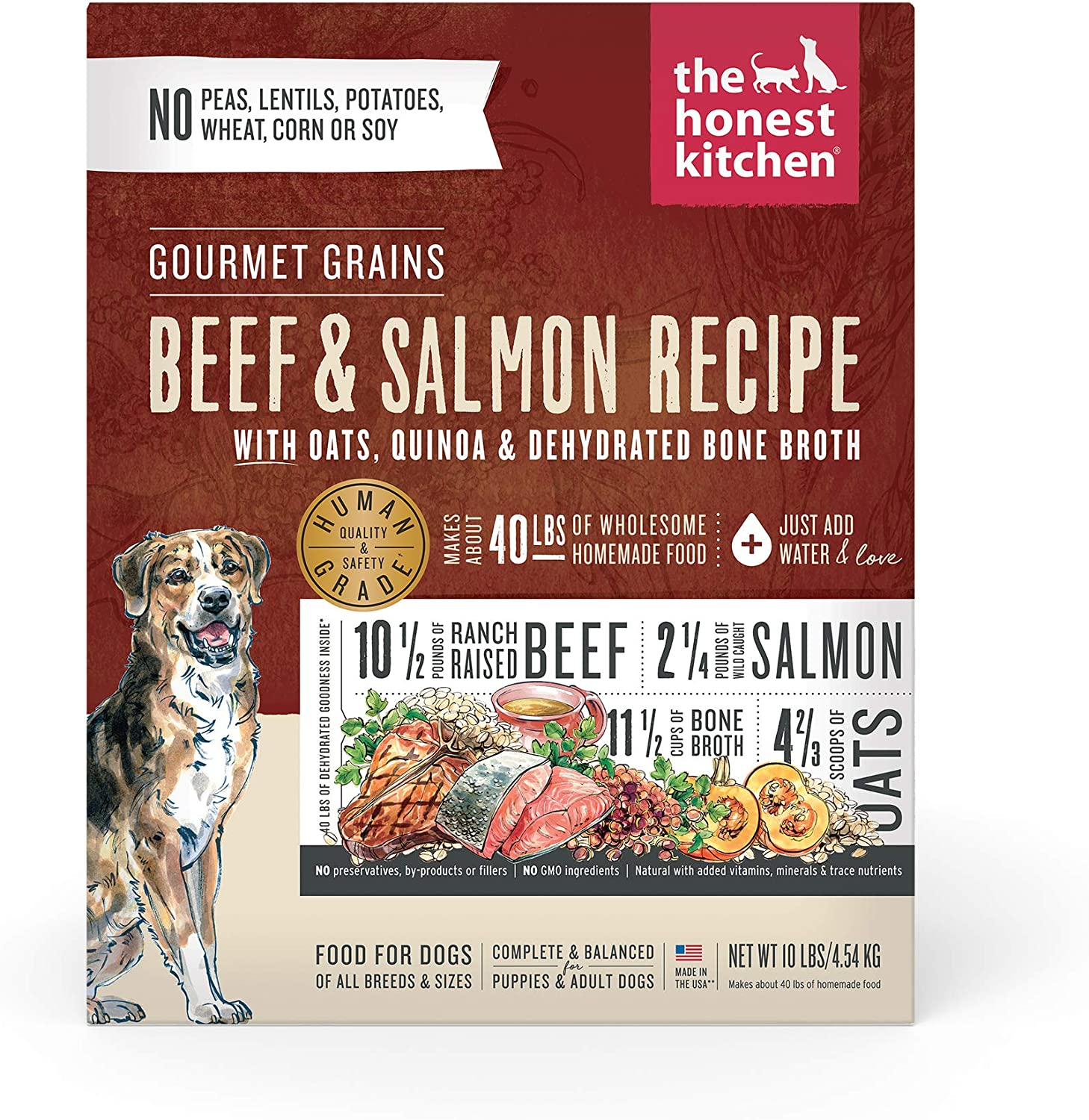 The Honest Kitchen Gourmet Grains Beef & Salmon Recipe Dehydrated Dog Food, 10 lb box