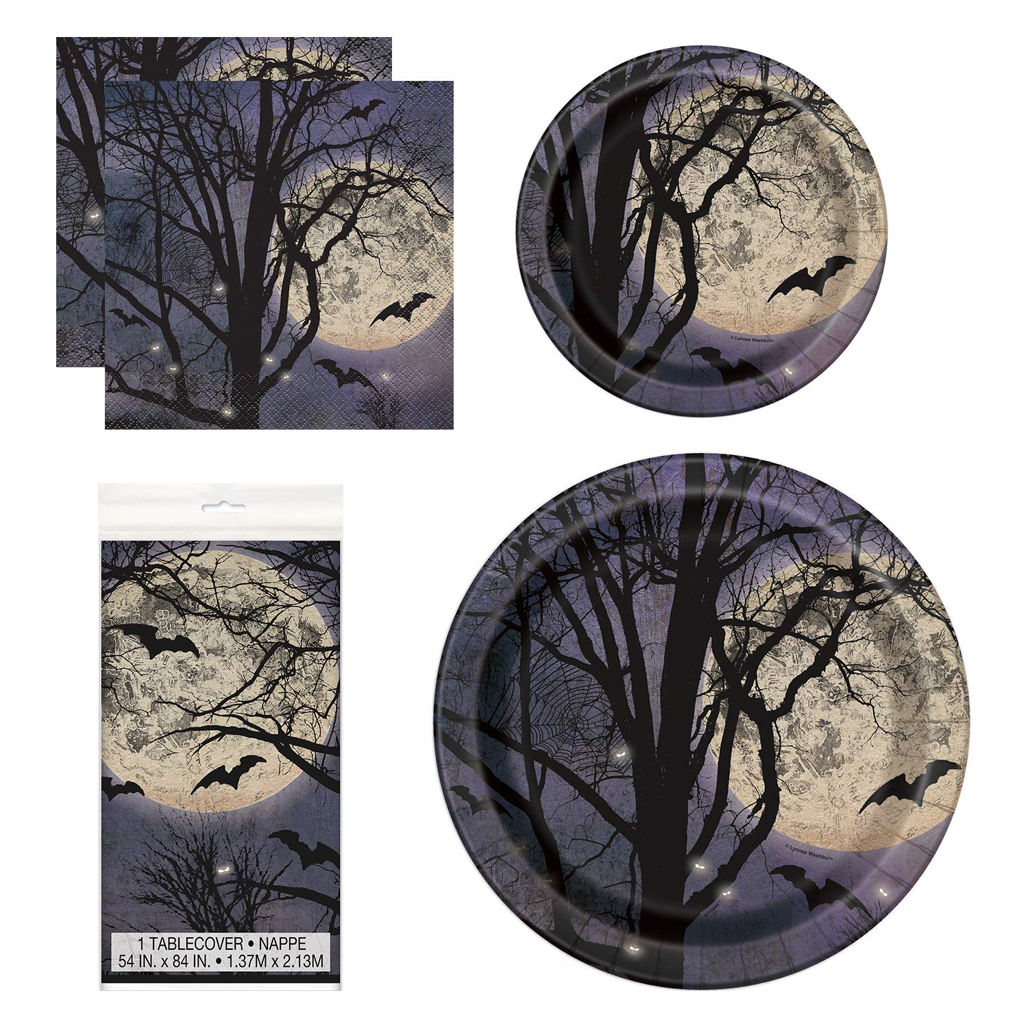 Unique Spooky Night Party Bundle | Luncheon & Beverage Napkins, Dinner & Dessert Plates, Table Cover | Great for Halloween Parties and Themed Celebrations