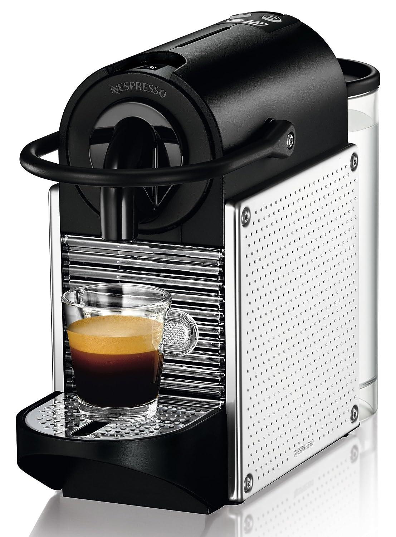 Nespresso Pixie EN125M DeLonghi - Cafetera monodosis (19 bares, Apagado automático, Sistema calentamiento rápido), Color metalizado