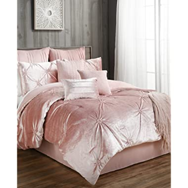 Velvet Queen Comforter Set Pink Blush 10 Piece Set Includes Throw, Euros, Decorative Pillows