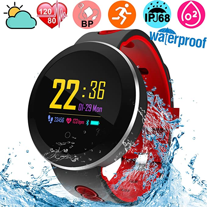 amazon com fitness tracker waterproof ip68 smartwatch for swimming