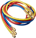 """Yellow Jacket 29986 Plus II 1/4"""" Hose with Compact Ball Valve, 72"""" (Pack of 3)"""