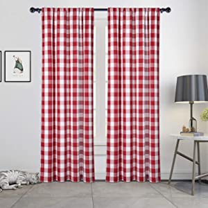 Haperlare Red and White Farmhouse Buffalo Plaid Curtains Bedroom Light Filtering Curtains Rustic Home Decor Window Drapes Rod Pocket Privacy Panels for Bedroom/Doorway, W42 x L63 Inches, 2 Panels