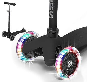 Rugged Racers Black Kick Scooter for Boys & Girls 3 Wheel Scooter, Kick Scooter for Kids with LED Light PU Wheels, Step Brake, Lean 2 Turn, Ride on ...