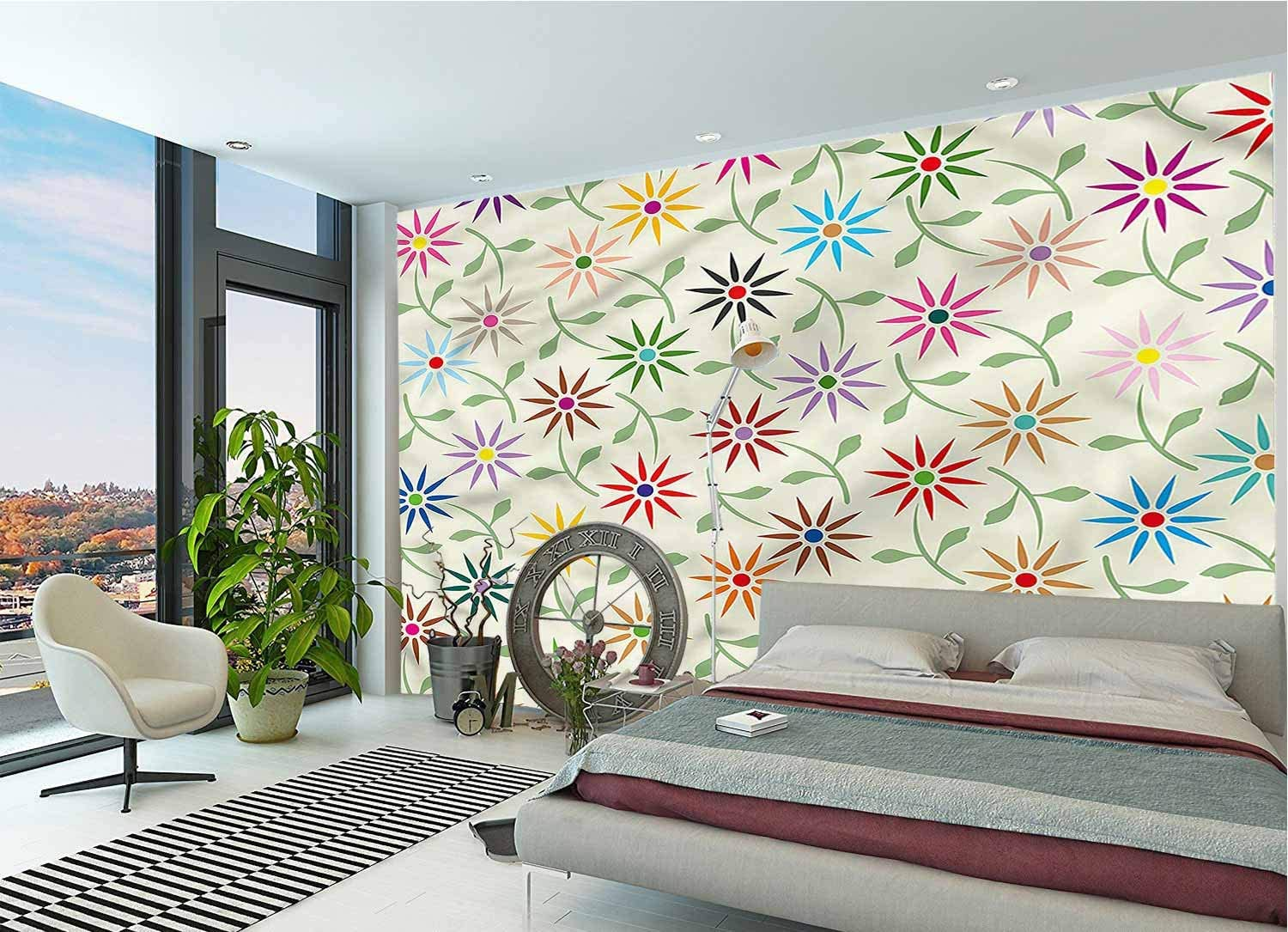 LCGGDB Floral Large Wall Mural,Colorful Graphic Garden Self-Adhesive Large Wallpaper for Office Kids Bedroom Nursery Family Decor-118x83 Inch