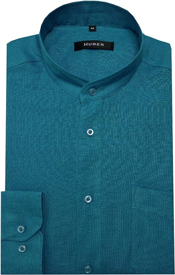 HUBER - Camisa casual - Básico - cuello mao - Manga Larga - para hombre turquesa XXXX-Large: Amazon.es: Ropa y accesorios