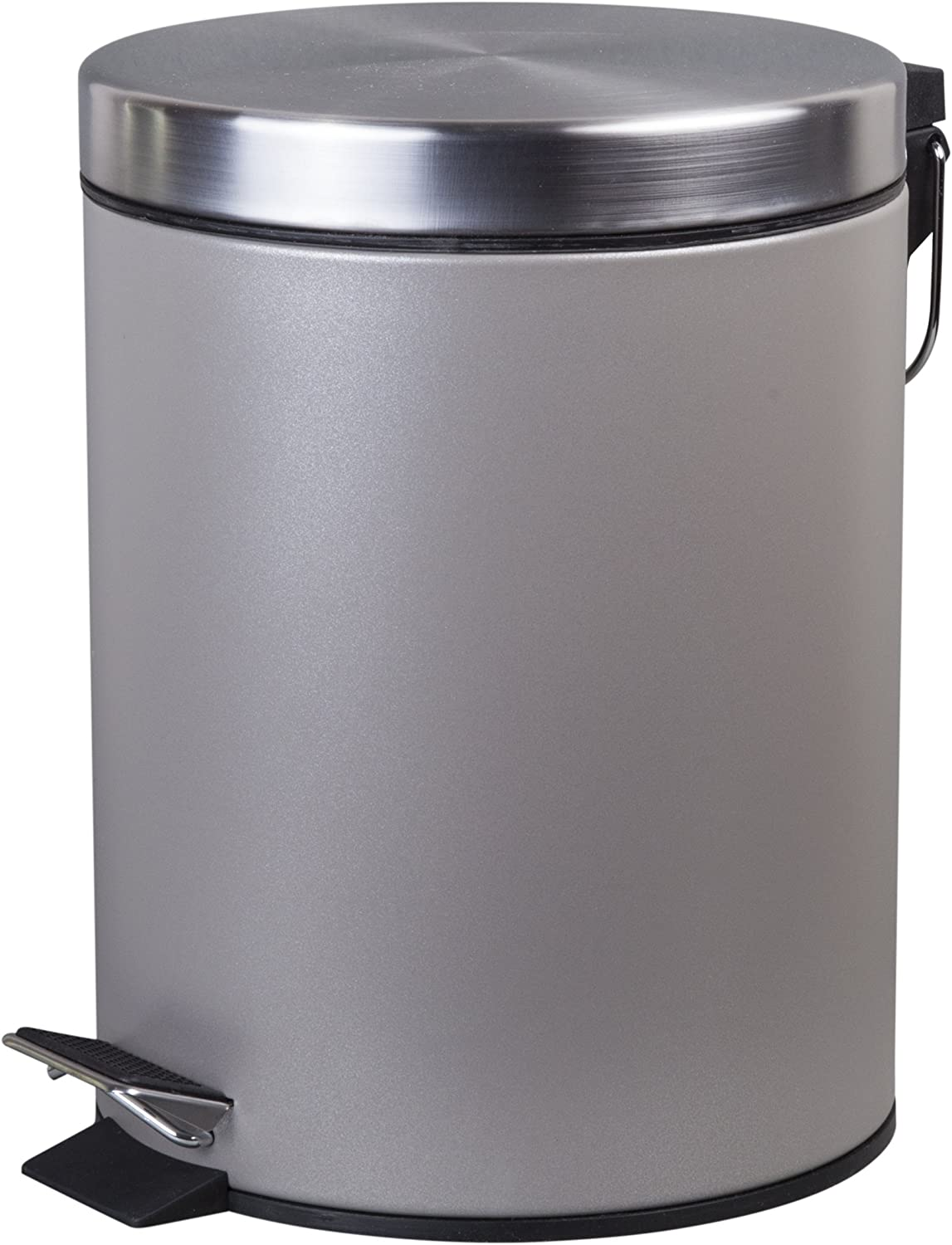 Creative Home 5 Liter/ 1.3 Gallon Round Step Trash Can Wastebasket Garbage Container Bin, Silver Powder Coating Finish
