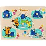 Small Foot Design 10493 Sendung Setzpuzzle aus Holz Motiven Fünf Verschiedene Puzzleteile mit Maus, Elefant und Ente, Geeignet für Kinder ab 1 Jahr