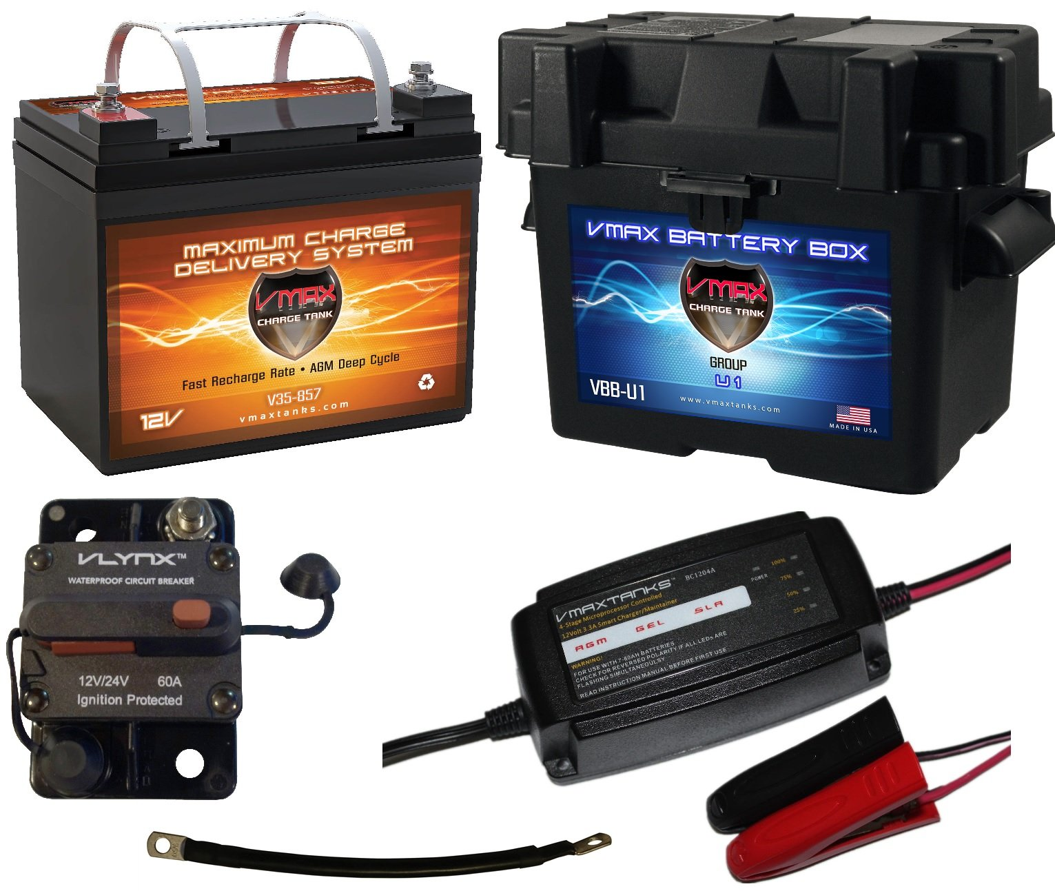 Boat Battery Kit: VMAX 12V 35ah AGM Battery + VMAX Marine Battery Box + Waterproof Circuit Breaker + 12V 4-Stage Smart Charger + 9'' 100% Copper Cable. AGM Battery Kit for 18-35lb trolling Motors. by VMAXTANKS