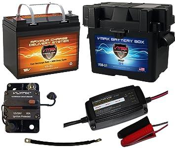 Barco kit Batería: VMAX 12 V 35ah AGM Quickbox Marine + caja de ...