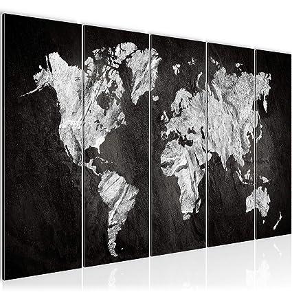 Bilder Weltkarte World map Wandbild 200 x 80 cm Vlies - Leinwand Bild XXL  Format Wandbilder Wohnzimmer Wohnung Deko Kunstdrucke Weiß 5 Teilig - Made  ...