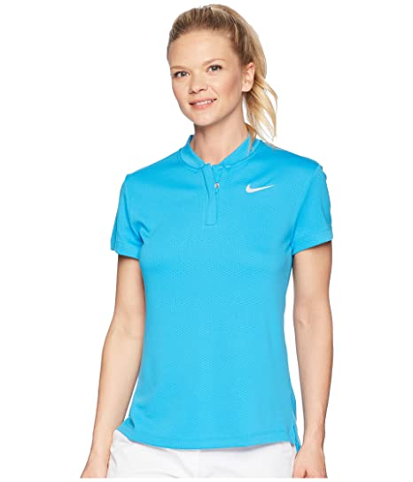 b24a6eb2 Nike Dri Fit Shortsleeve Blade Collar LC Golf Polo 2018 Women Equator  Blue/Flat Silver