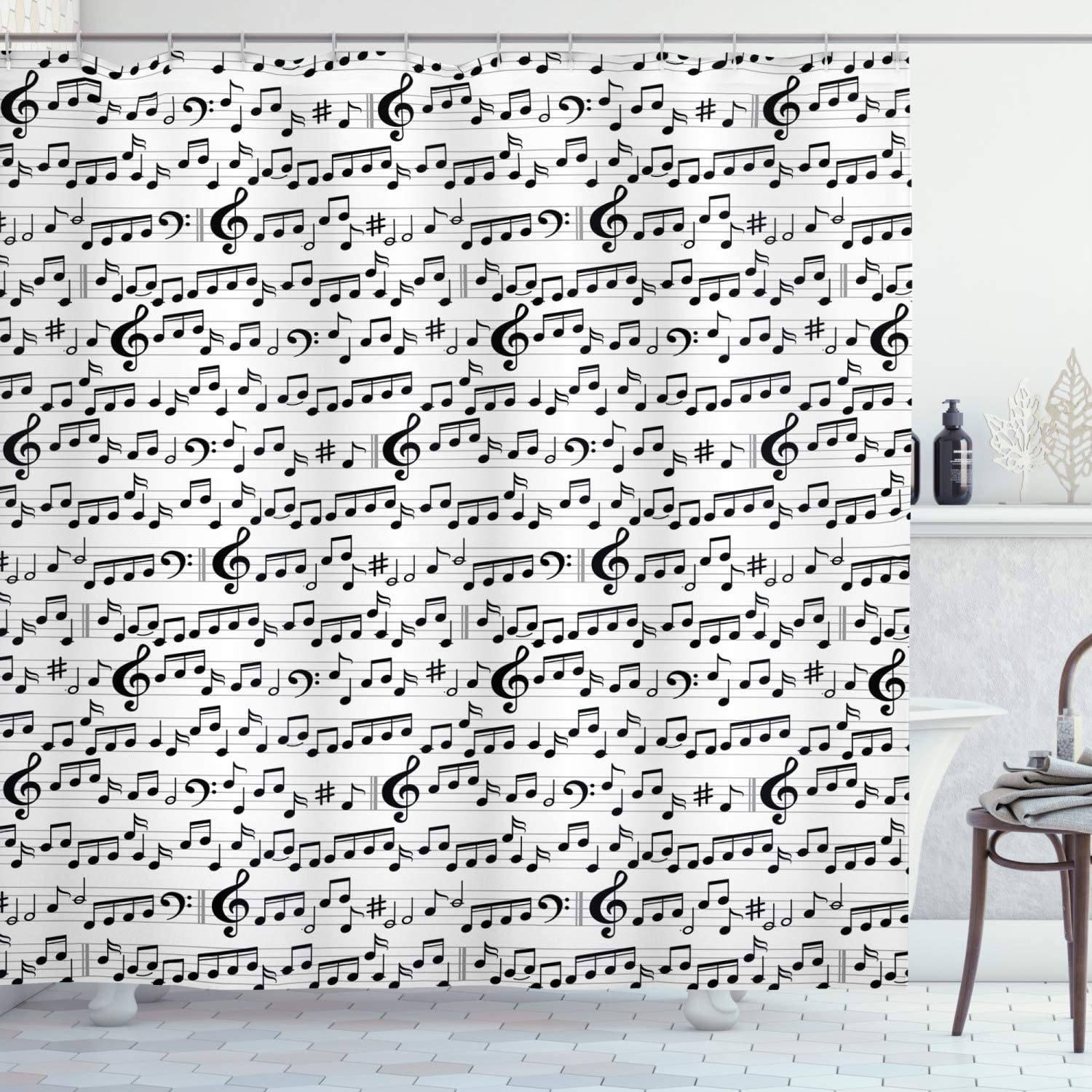 Ambesonne Music Shower Curtain, Abstract Style Professional Music Pattern with Notes and Clef Sheet Play Writing, Cloth Fabric Bathroom Decor Set with Hooks, 84