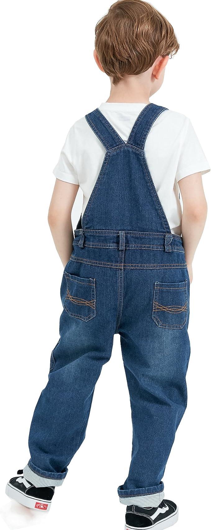 Grandwish Boys Blue Thin Denim Bib Overalls 3T-10