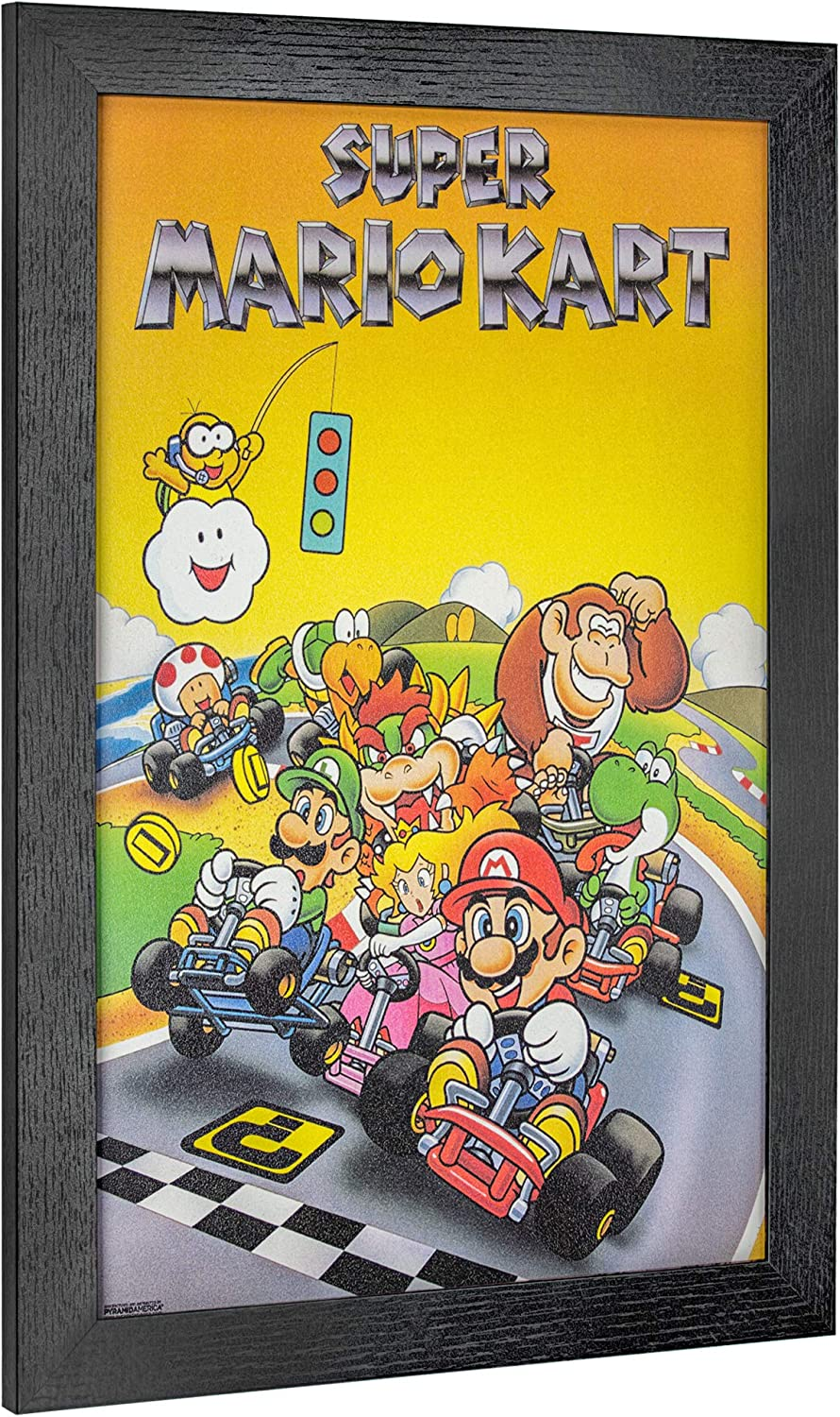 "Officially Licensed Nintendo Super Mario Kart Framed Poster Wall Art (19"" H x 13"" L)"