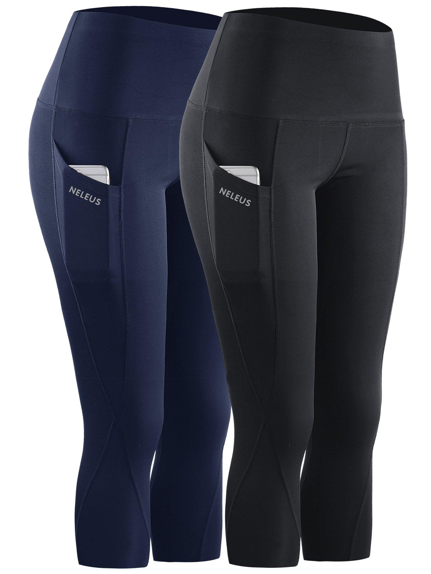 Neleus 2 Pack Tummy Control High Waist Workout Yoga Capri Leggings,9027,Black,Navy Blue,S,EU M