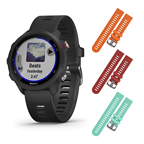Garmin Forerunner 245 GPS Running Smartwatch with Included Wearable4U 3 Straps Bundle (Black Music 010-02120-20, Orange/Red/Teal)