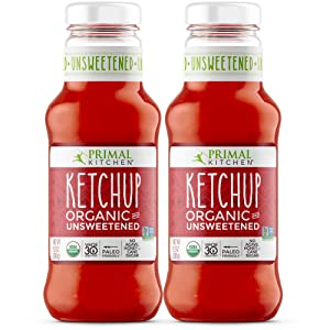Primal Kitchen Organic Unsweetened Ketchup, Whole 30 Approved, Paleo & Keto Friendly (11.3 Ounce Bottle) - Two Pack