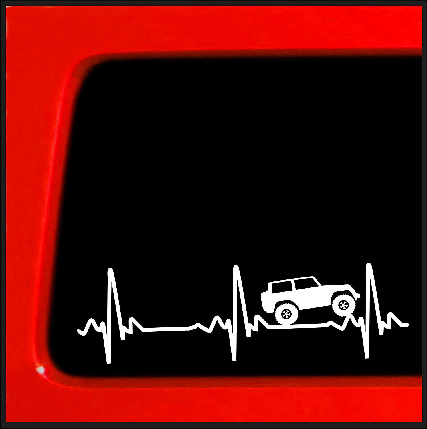 "Sticker Connection | Heart Beat EKG for Jeep Wrangler | Bumper Sticker Decal for Car, Truck, Window, Laptop | 2.5""x8"" (White)"