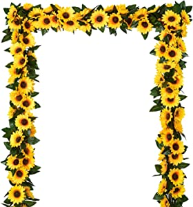 DearHouse 3 Pack Artificial Sunflower Garland Silk Sunflower Vine Artificial Flowers with Green Leaves Wedding Table Decor