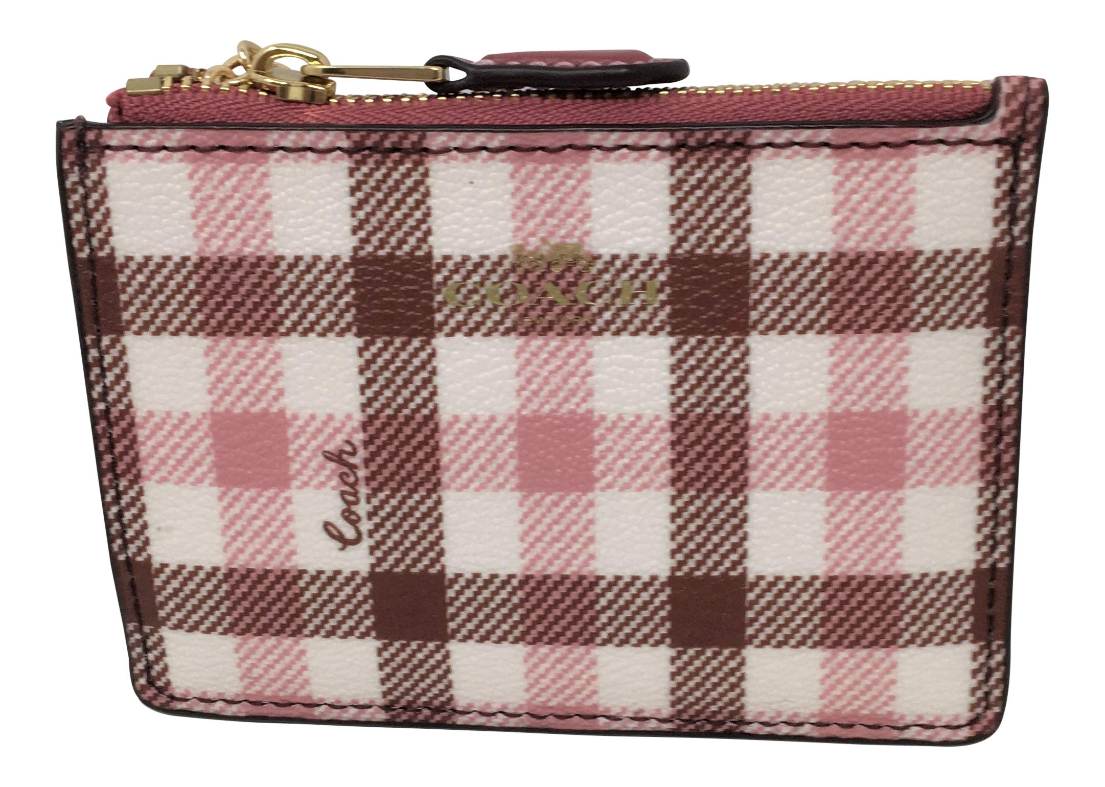 Coach Coated Canvas Mini ID Skinny in Gingham Print Brown Pink F77898 by Coach