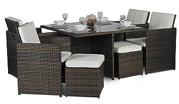 Giardino rattan medium glass dining table cube set with highback